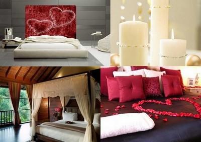Романтический интерьер спальни к 14 февраля